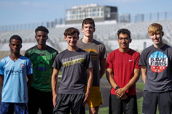 Members of the Galesburg High School boys track team headed to this weekend's state track & field finals are, from left; Plamedi Nseka, Adrian Outlaw, Alex Buchen, Nolan Carl, Alex Harvey and John Rehn.
