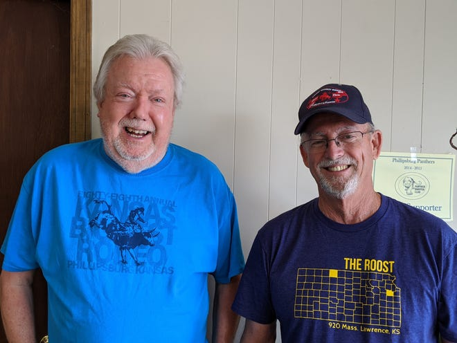 Ron Lower (on the left) and Brett Biggs have volunteered to man the ticket booth at the Phillipsburg rodeo for the last thirty-plus years, for all three nights of rodeo. They retired after the 2019 rodeo.