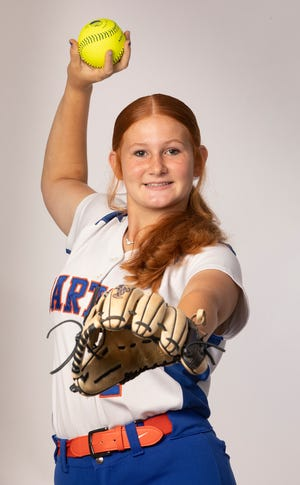 """Bartow's Katelynn """"Red"""" Oxley emerged as the top pitcher in the county during her freshman season."""