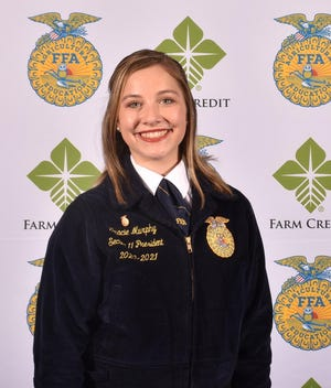 """Gracie Murphy of the Macomb FFA chapter was recently elected the 2021-2022 State Secretary of the Illinois FFA. She and fellow officers were recognized at the Illinois State Fairgrounds June 8, according to an online article on the Illinois FFA website. """"This past year, we have been able to connect with people virtually,"""" she said. """"Being here at the state convention and seeing all of these members is getting me excited because I know we will have many opportunities to make connections."""" According to the Illinois FFA, the 2021-22 Illinois FFA state officer slate will delay their collegiate plans for a year to """"allow them to fully dedicate the next year to serving FFA members across the state of Illinois."""" For more information on the new slate of officers, see https://www.farmprogress.com/ffa/illinois-ffa-elects-new-officer-team"""