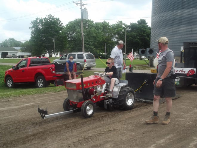 A participant is seen during the Heartland Garden Tractor Pullers event held Saturday north of the Bowen elevator.