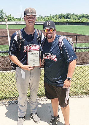 Bryce Taylor, a 2021 graduate of Northeast R-IV School at Cairo, stands with his Bearcats baseball coach Morgan Matthews at the conclusion of the 202 MHSBCA Class 1 & 2 Senior All-Star Game played June 12 at Southern Boone H.S. in Ashland. Taylor received the MVP Award for the North Team that he played with that day, and Matthews served as an assistant coach.