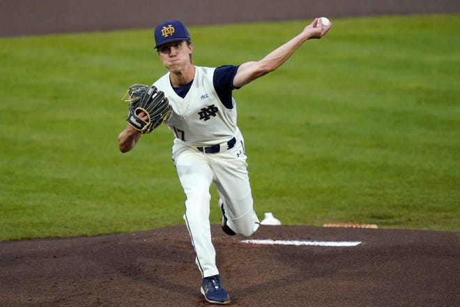 Notre Dame pitcher Aidan Tyrell throws a fastball against Mississippi State during ND's 9-1 victory in an NCAA baseball Super Regional game, Sunday, June 13, 2021, in Starkville, Miss.