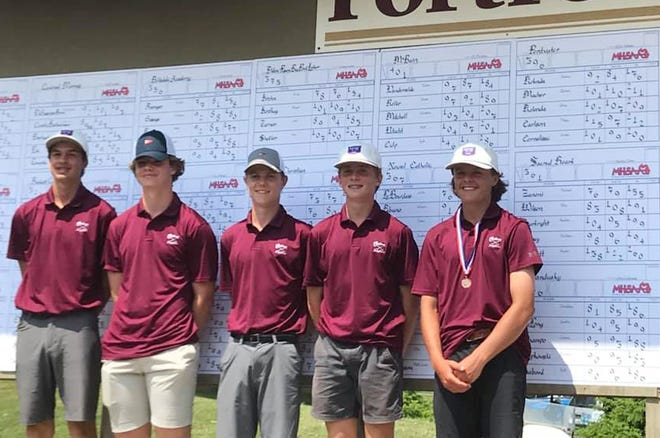 The Charlevoix boys' golf team of (from left) Jack Gaffney, Henry Herzog, Sam Pletcher, Hudson Vollmer and Jake Beaudoin helped the Rayders place third overall in Division 4 Saturday at the state finals.