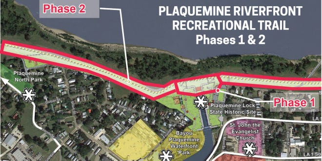 Plaquemine Riverfront Recreational Trail will be built in three phases.