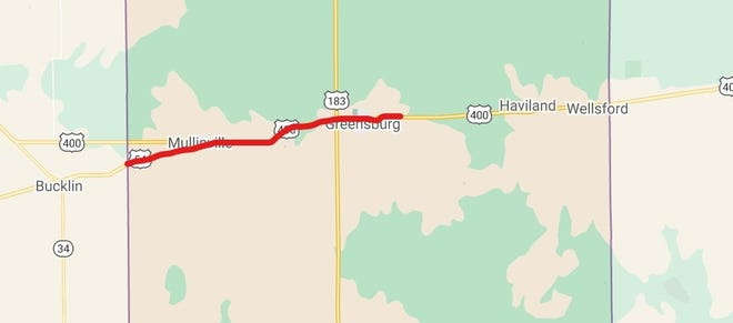 This map below shows the project location, marked in red, of roadwork beginning next week in Kiowa County.