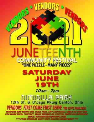 The Juneteenth Community Festival is 10 a.m. to 7 p.m. at Nimisilla Park in Canton.
