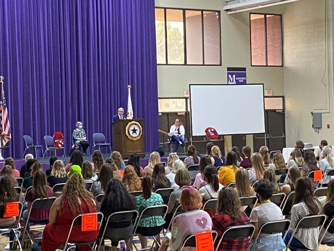 Gov. Mike DeWine speaks to roughly 500 students on during Buckeye Girls Stateat the University of Mount Union on Monday, June 14, 2021.