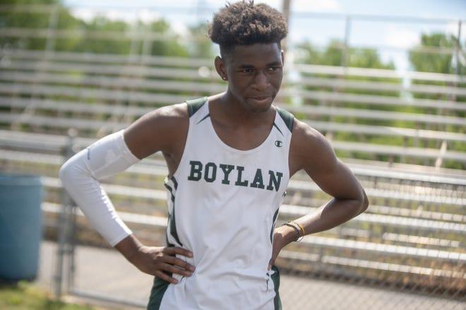 Boylan's Darcis Bitangalo catches his breath in between sprints at Boylan High School on Monday, June 14, 2021 in Rockford.