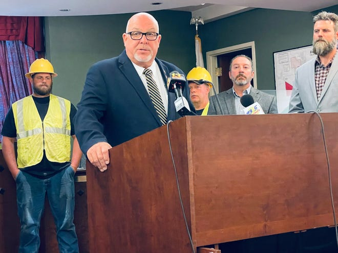Rochelle Mayor John Bearrows expresses his concerns about the potential closure of a downstate power plant where the City of Rochelle buys its electricity at a press conference Monday, June 14, 2021, in Rochelle.