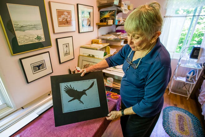 Joan Tweedell talks about her process for making block prints in her South Bend home. She will show at this weekend's Leeper Park Art Fair for the 40th and final time.