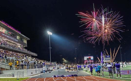 Fireworks light up the sky following a game against Doane University in this Tarleton State University file photo. This year, postgame fireworks are planned following the homecoming game on Oct.23 vs. Midwestern State.