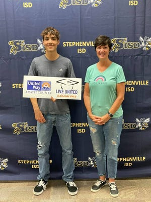 """Justin Burns is the recipient of a Erath County United Way """"LIVE UNITED"""" 2021 Scholarship. Burns is a graduate from Moonlight Trail Christian Academy and plans to attend University of North Texas and study computer science. He is pictured with his mother, Sidne Erwin."""