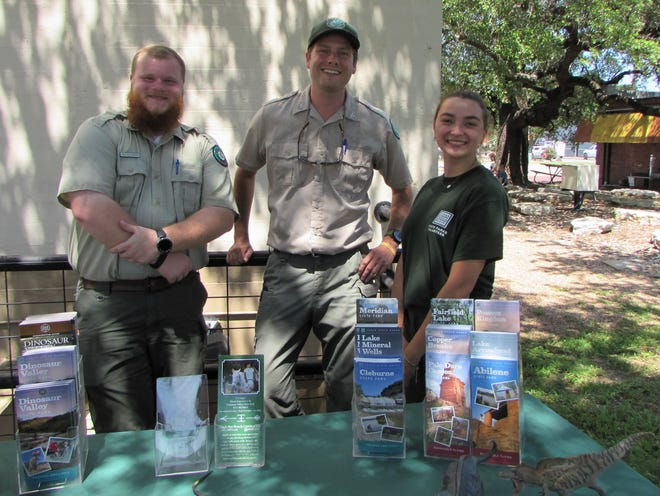 Ranger Allen, Ranger Zach, and volunteer Alex from Dinosaur Valley State Park presented an informative and entertaining program to kids and adults alike on Thursday for the Stephenville Public Library Summer Reading Program.
