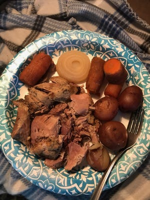 Luke's sister made this tasty pork roast from some choice cuts of wild pork Luke furnished her this past weekend.