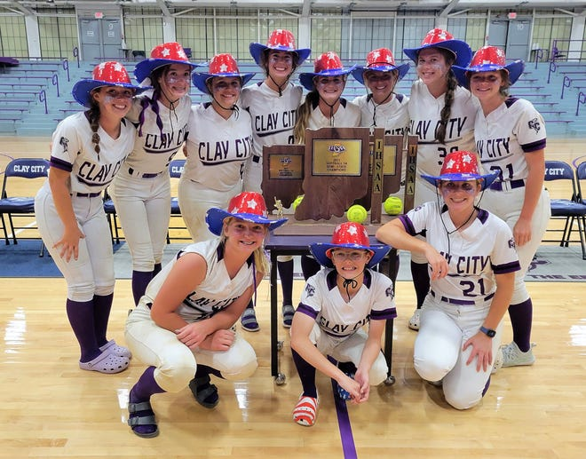 The Clay City Lady Eels won were crowned semi-state champs with wins over Hauser in the semi-final and Loogootee in the final recently. Team members include, front row, from left: Hannah Harris, Jaycee Graham, and Hailey Hofmann. Back row: Demi Wolfe, Sophia Moshos, Lexi Thompson, Trinity Sankey, Charly Koehler, Elyssa Secrest, Kaylee Miller, and Lexi Crabb. More from the recent softball semi-state is featured inside today's Clay City News.