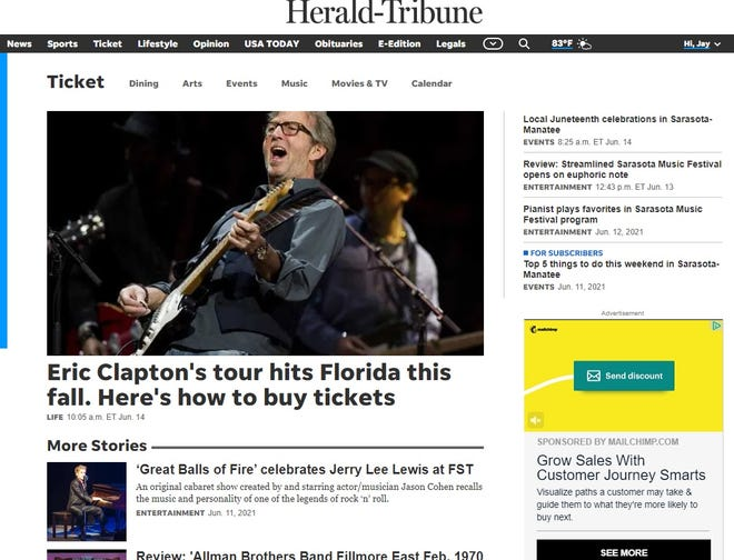 A recent Ticket section cover page with some of the arts, entertainment and dining options available on HeraldTribune.com.