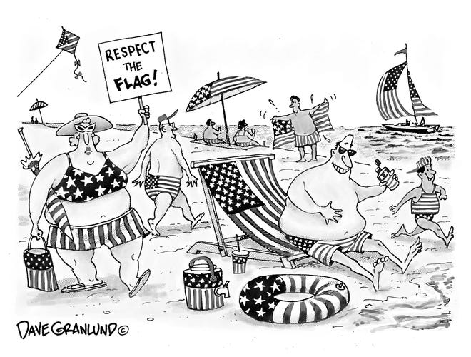 Cartoon about respecting the flag's image this summer.