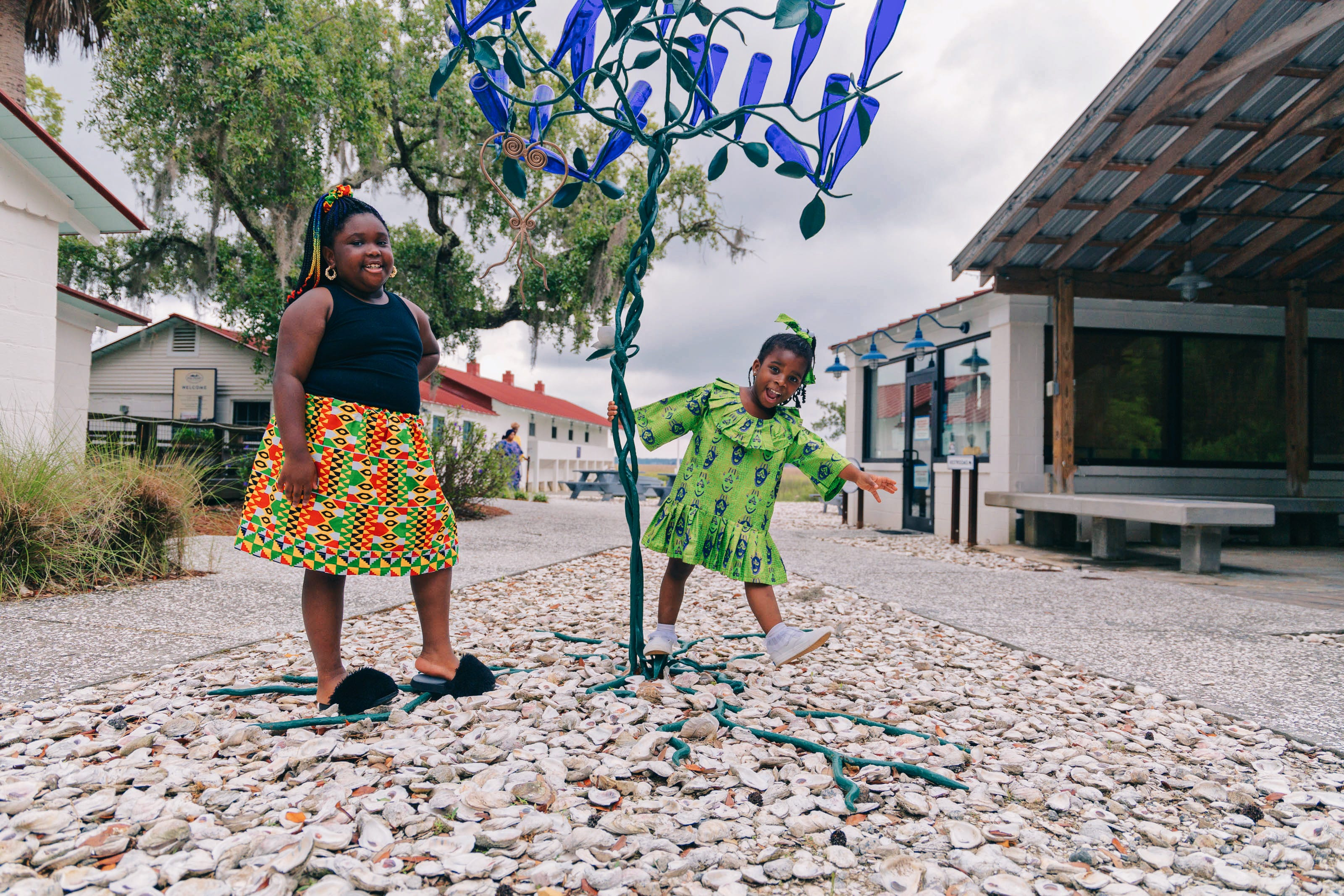 Lemeirah Rouse and Noelle Mugin at Pin Point Heritage Museum in Savannah. The museum, located in the old A.S. Varn & Son Oyster and Crab Factory, allows guests to experience the Gullah/Geechee culture first hand.
