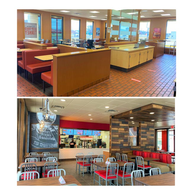 Shown is a before-and-after example of the changes being made to some Arby's restaurants.