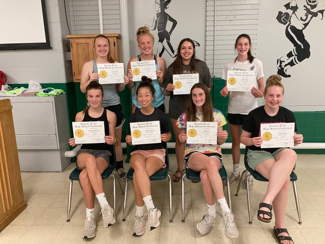 Members of the WHS girls track team were recently included in the Lincoln Trail Conference all-academic team. They are, front row, from left: Kennady Anderson, Danielle Johnson, Ally Celus and Riley DeMay. Back row: Emily Miller, Cassiday Miller and Kaylee Celus. Not pictured: Elle Eastman.