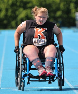 Makenna Peed, shown competing in the IHSA state track meet in Charleston last week, became the first KHS athlete to ever win a medal in the Athletes with Disabilities division.