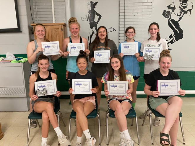 Varsity letter winners for the Wethersfield girls track team are, front row, from left: Kennady Anderson, Danielle Johnson, Ally Celus, Riley DeMay. Back row: Emily miller, Cassidy miller, Brody Garcia, Madison Rusk, Kaylee Celus. Not pictured: Elle Eastman.