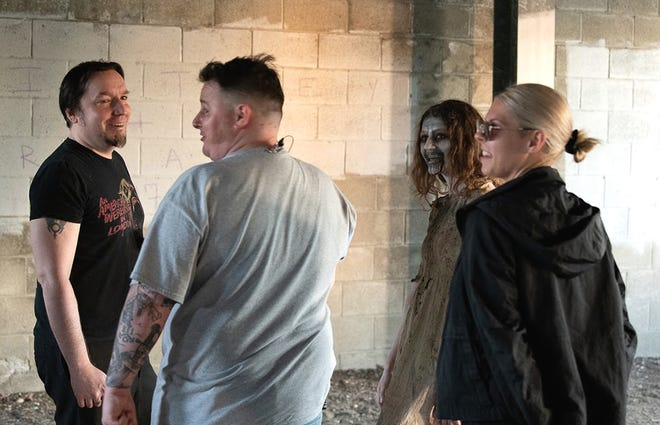 Crew members of 'KINDEr' filmed inside West Boylston's Old Stone Church on June 12. The people on both sides of the camera were from the region, including the demon girl (shown), played by Kaitlyn Archambeault, of Princeton; make-up artists Megan Hay, of Princeton, and Aaron White, of Hudson, Director Daniel McNulty and Director of Photography David Nugent, both of Holden, as well as writer/producer Adam Morey, of Princeton.