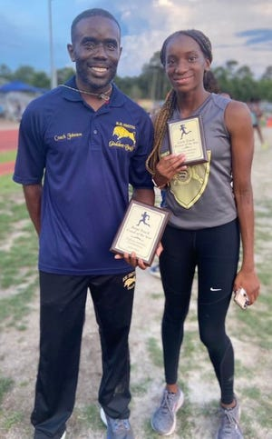 E.E. Smith's father-daughter duo of Raymond Johnson Jr. and Holley Johnson had a memorable day at the Patriot 4-A/3-A Conference championship meet on June 9.