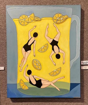"""""""Life and Lemons"""" is the original acrylic painting on which artist Christence Taylor is basing her portion of the Welcome Wall mural."""