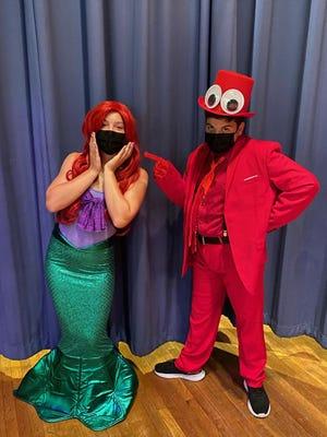 "McKenna Morrison as Ariel and Kevin Santos as Sebastian star in the Joyce Middle School's ""The Little Mermaid Jr."" this weekend."