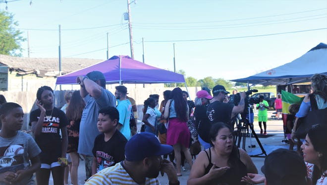 A crowd gathers at Lazy Beach Brewery for Juneteenth Sunday Funday event.