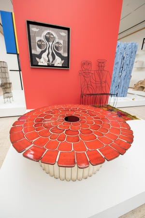 """A table made by artist Gere Kavanaugh is among the pieces at the """"Architecture of the Interior"""" gallery inside the """"With Eyes Opened"""" exhibit at Cranbrook Art Museum, in Bloomfield Hills, June 14, 2021."""