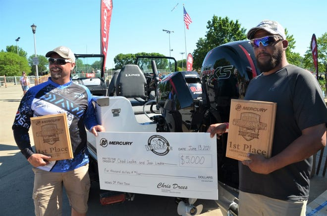Chad and Josh Liedke of Fond du Lac are the first place winners of the 2021 Merc National Walleye Fishing Tournament held this past weekend at Lakeside Park. They won the grand prize of a Lund fishing boat with Merc 150 Pro XS outboard, along with $5000.