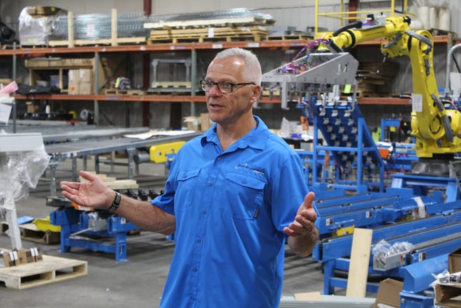 Tim Ellenberger, vice president of business development at Motion Controls Robotics, speaks to a group of Sandusky County elementary school teachers Friday as he led them on a tour through the company's Fremont facility. The Sandusky County Economic Development Corporation held its 2021 Teacher Manufacturing Bootcamp last week at five different manufacturing company sites within the county. Representatives from Whirlpool's Clyde plant gave a presentation to teachers Wednesday at the SCEDC's office.