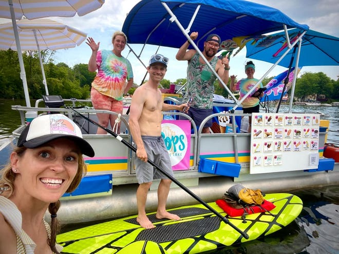 Pops on the Lake, an ice cream boat, opened recently. Pictured from left, Brooke Strube, Lexi Niedfeldt, Dylan Strube, Ben Ricca and Nicolette Oberst.