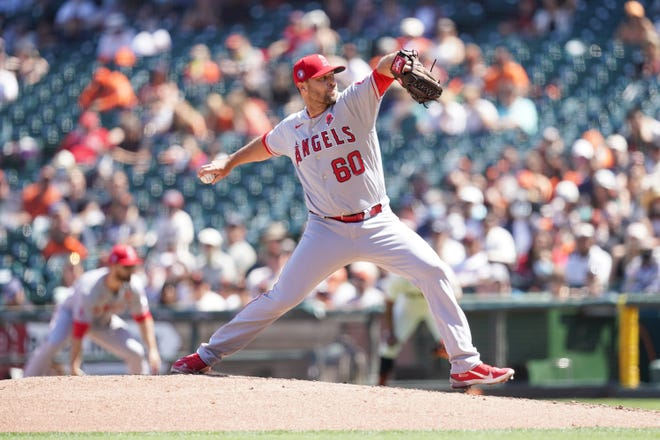 Hunter Strickland delivers a pitch for the Angels in a game against the Giants on May 31. Strickland was just acquired by the Brewers.
