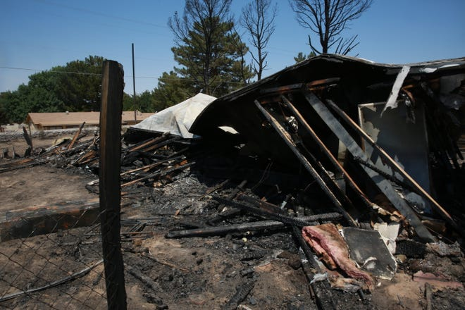 Sara Pierce's mobile home on Walker Trail in Doña Ana, seen June 14, 2021, was destroyed in a blaze on Saturday, June 12.
