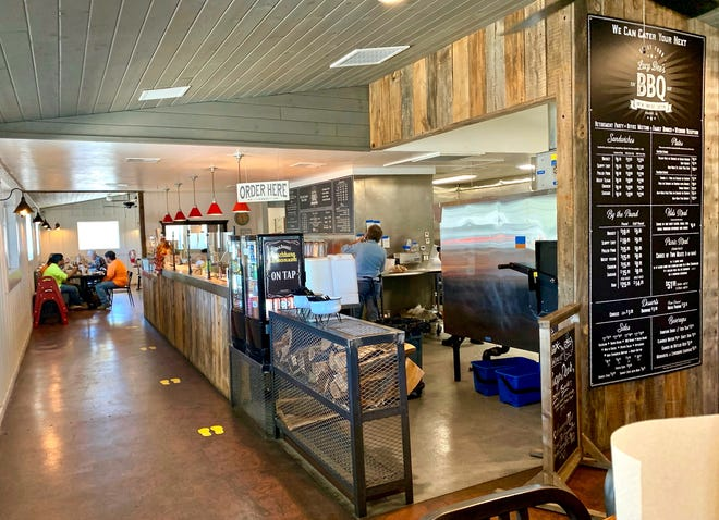 Lucy Dee's BBQ restaurant in Prescott offers seating inside and outside on a covered patio.