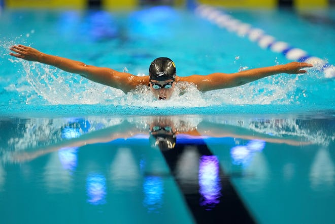Hali Flickinger participates in the Women's 400 Individual Medley during wave 2 of the U.S. Olympic Swim Trials on Sunday, June 13, 2021, in Omaha, Neb. (AP Photo/Charlie Neibergall)