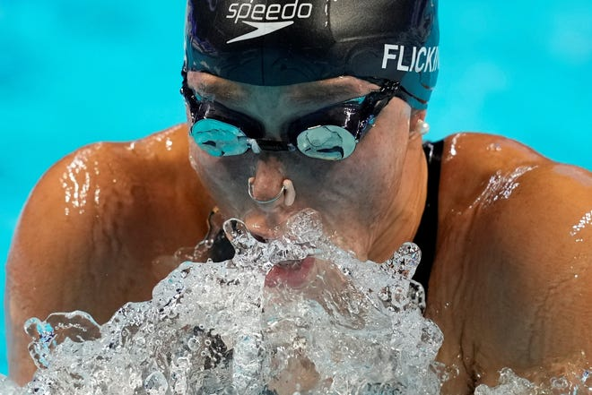 Hali Flickinger participates in the women's 400 individual medley during the U.S. Olympic Swimming TeamTrials on Sunday in Omaha, Nebraska. (AP Photo/Charlie Neibergall)