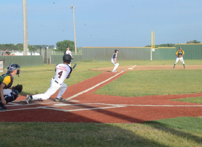 Joe Lund of the Brandon Valley Rats hits a two-run double in the second inning against Renner on Sunday, June 13, 2021.