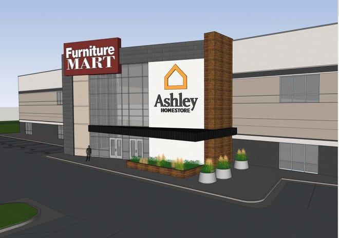 Rendering of site of future Ashley HomeStore inside the Furniture Mart headquarters on 140 E. Hinks Lane.