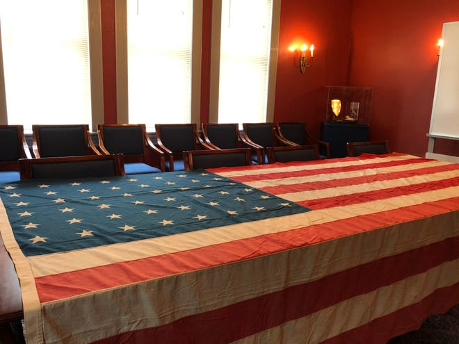 The Woodrow Wilson Museum was gifted the 105-year old flag in 1969 by the Cigrand family.
