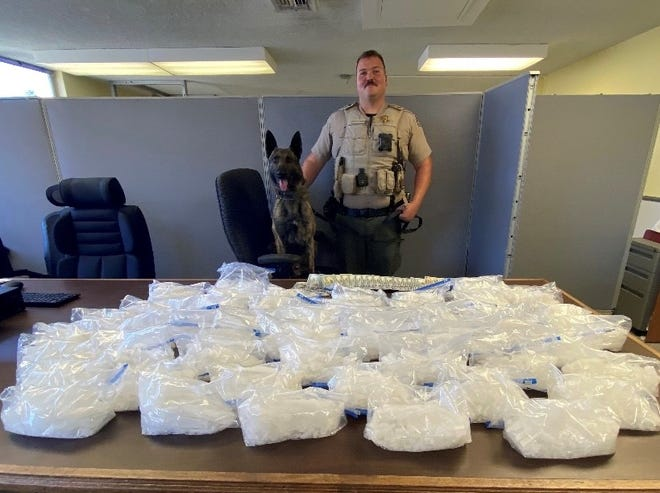 Tulare County detectives found 51 pounds of methamphetamine during a traffic stop on Thursday, June 10, 2021.