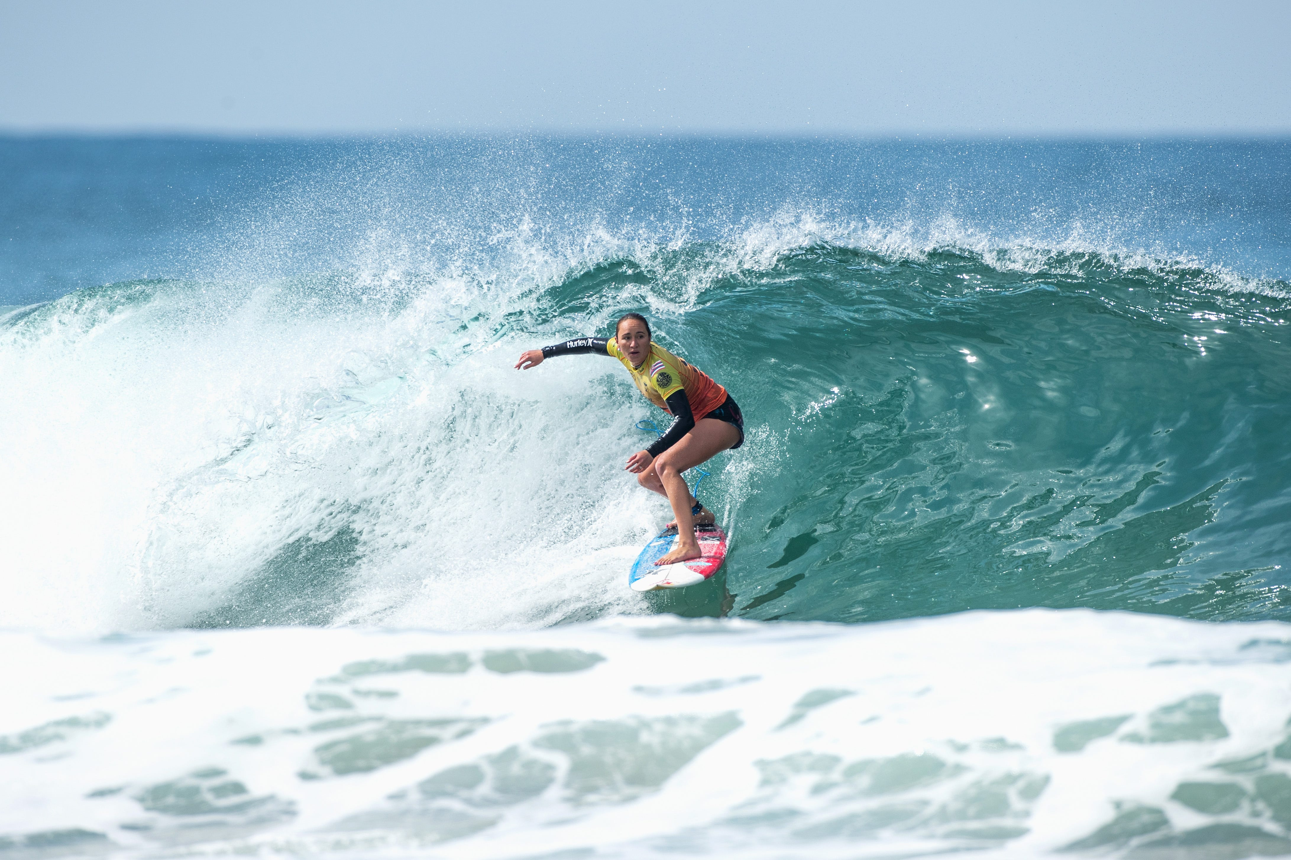 Carissa Moore shown competing in the semifinal of the Rip Curl Narrabeen Classic.