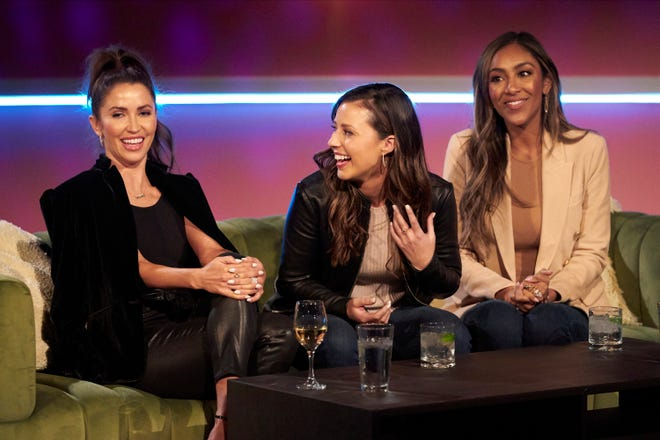 """From left to right, Kaitlyn Bristowe, Katie Thurston and Tayshia Adams laugh together during a """"Bachelorette"""" group date."""