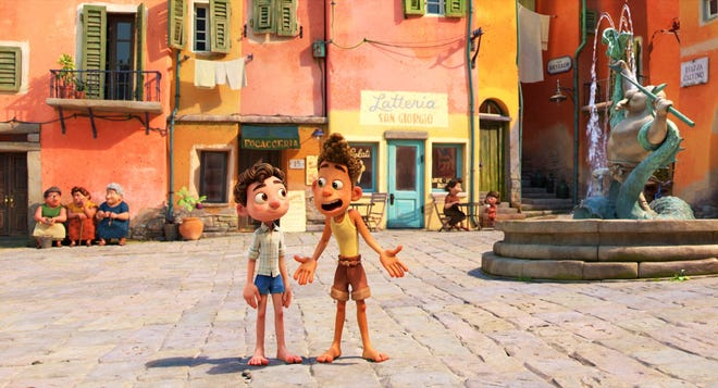 """Alberto, voiced by Jack Dylan Grazer, right, and Luca, voiced by Jacob Tremblay, in a scene from the animated film """"Luca."""""""