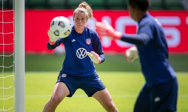 United States women's national team goalkeeper Alyssa Naeher eyes a shot during practice Tuesday at Q2 Stadium in advance of the team's match versus Nigeria on Wednesday. The matchup will be the first official game played at the new home of Austin FC.
