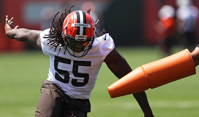 Browns defensive end Takk McKinley has been away from the team since Aug. 1 and there is no timetable set for his return.